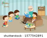 grandfather reading fairy tales ... | Shutterstock .eps vector #1577542891