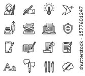 copywriting icons set with... | Shutterstock .eps vector #1577601247