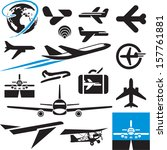 airplane icons. airport symbols.... | Shutterstock .eps vector #157761881