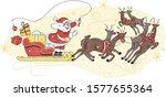 santa on sleigh with reindeers. ... | Shutterstock .eps vector #1577655364