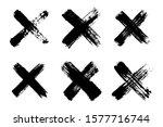Hand Drawn Set Of Cross Brush...