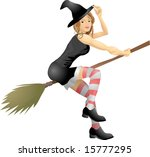 An isolated young beautiful witch flying on her broomstick An isolated young beautiful witch flying on her broomstick - stock vector
