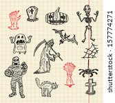 halloween sketch set for your... | Shutterstock .eps vector #157774271
