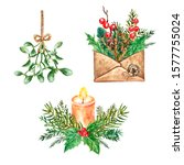 Watercolor Christmas And New...