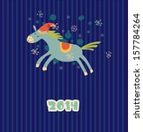 funny christmas horse in the hat | Shutterstock .eps vector #157784264