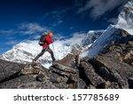 Hiker Trek Himalayas Khumbu Valley - Fine Art prints