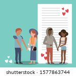 group of lovers couples with... | Shutterstock .eps vector #1577863744