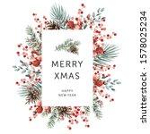 christmas nature design frame ... | Shutterstock .eps vector #1578025234