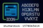 glowing neon calendar icon... | Shutterstock . vector #1578065614