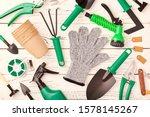 Gardening Tools On Wooden...