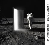 On The Moon. Astronaut Standing ...