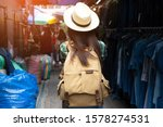 asian woman travel with... | Shutterstock . vector #1578274531