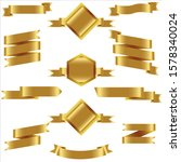 gold ribbon set in isolated for ... | Shutterstock .eps vector #1578340024