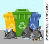 garbage cans with sorted... | Shutterstock .eps vector #1578401557