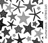 gray starfish on white seamless ... | Shutterstock .eps vector #157841165