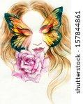 Beautiful Woman   Butterfly An...