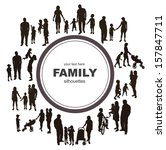 frame with family silhouettes.  | Shutterstock . vector #157847711
