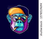 cool face monkey smoke... | Shutterstock .eps vector #1578519694