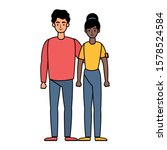 young interracial couple... | Shutterstock .eps vector #1578524584