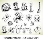 halloween hand drawings vector... | Shutterstock .eps vector #157861904