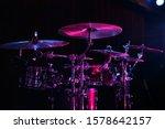 Drum Set On Rock Concert Stage...