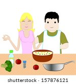 couple preparing food in company | Shutterstock .eps vector #157876121