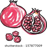 whole and half pomegranate... | Shutterstock .eps vector #157877009