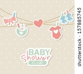 Baby Shower Design Over Dotted...