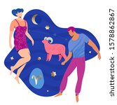 aries couple zodiac and... | Shutterstock .eps vector #1578862867