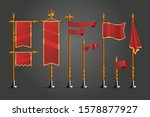 medieval cartoon flag set. game ...