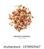 Creative layout made of chocolate granola isolated on white background. Flat lay. Food concept.