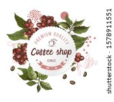 coffee shop round paper emblem... | Shutterstock .eps vector #1578911551