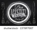 poster lettering bon appetit...   Shutterstock . vector #157897007