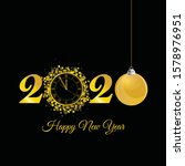 happy new year 2020 with clock... | Shutterstock .eps vector #1578976951