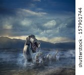 Stock photo photo composite of loch ness monster 157901744