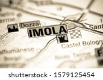 Imola. Italy on a map