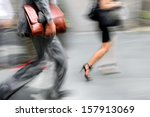 business people at rush hour... | Shutterstock . vector #157913069