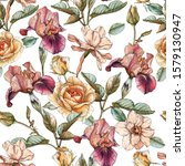 floral seamless pattern with... | Shutterstock . vector #1579130947