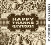 vintage happy thanksgiving card ... | Shutterstock . vector #1579182091