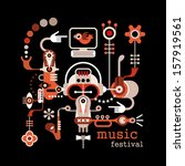 """Music Festival - isolated vector illustration on black background. Artwork placard with text """"Music Festival""""."""