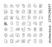 mobile interface linear icons ...