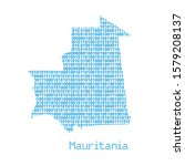 map of mauritania from binary... | Shutterstock .eps vector #1579208137