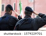 Italian Soldiers Saluting Flag...