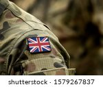 Flag of United Kingdom on military uniform. UK Army. British Armed Forces, soldiers. Collage. - stock photo
