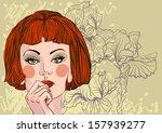 vector portrait of a beautiful... | Shutterstock .eps vector #157939277