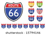 road signs with 66 route  all... | Shutterstock .eps vector #15794146