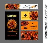 invitation cards for halloween...   Shutterstock .eps vector #157944059