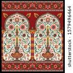 decorative mughal motif flower... | Shutterstock .eps vector #1579496464