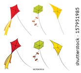 flying kites vector drawing | Shutterstock .eps vector #157951985
