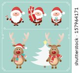 set of cute santa claus and... | Shutterstock .eps vector #157964171
